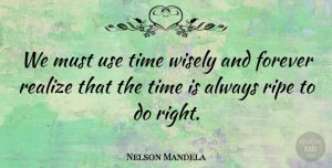 Nelson Mandela Quote About Inspiring, Graduation, Hope: We Must Use Time Wisely...