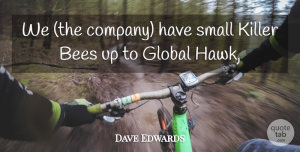 Dave Edwards Quote About Bees, Global, Killer, Small: We The Company Have Small...