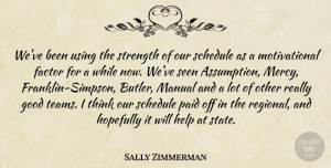 Sally Zimmerman Quote About Factor, Good, Help, Hopefully, Manual: Weve Been Using The Strength...
