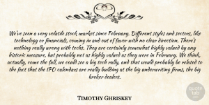 Timothy Ghriskey Quote About Building, Calendars, Certainly, Clear, Coming: Weve Seen A Very Volatile...