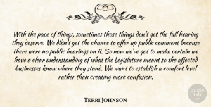 Terri Johnson Quote About Affected, Businesses, Certain, Chance, Clear: With The Pace Of Things...