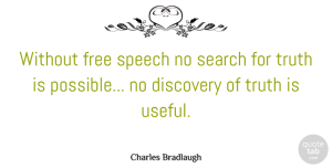 Discovery Quotes, Charles Bradlaugh Quote About Discovery, Freedom Of Speech, Censorship In Books: Without Free Speech No Search...