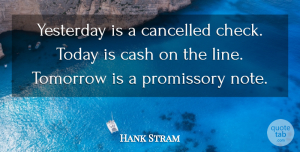 Hank Stram Quote About American Athlete, Cancelled, Tomorrow, Yesterday: Yesterday Is A Cancelled Check...