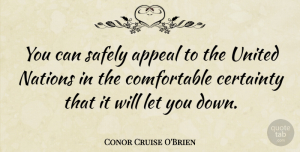 United Nations Quotes, Conor Cruise O'Brien Quote About Appeals, Certainty, United Nations: You Can Safely Appeal To...