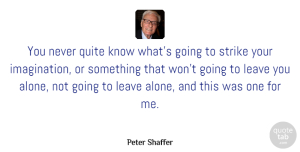 Peter Shaffer Quote About Imagination, Leave Me Alone, Never Quit: You Never Quite Know Whats...